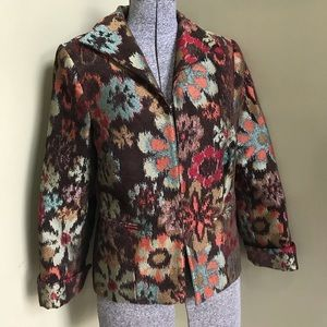 3 Sisters Floral Tapestry Open Front Blazer